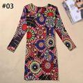 21 Шаблоны Мода Шею Длинным Рукавом Печати Случайные Женщины Оболочка Dress 2016 Большой Размер Vintage Пакет Хип Dress