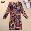 21 Patterns Fashion Round Neck Long Sleeve Printing Casual Women Sheath Dress 2016 Large Size Vintage Package Hip Dress