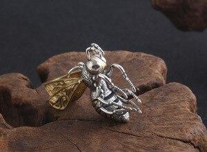 Image 4 - Gerçek 925 gümüş arı kolye kolye 925 ayar meşgul arı kolye kolye Vintage Bohemia kolye