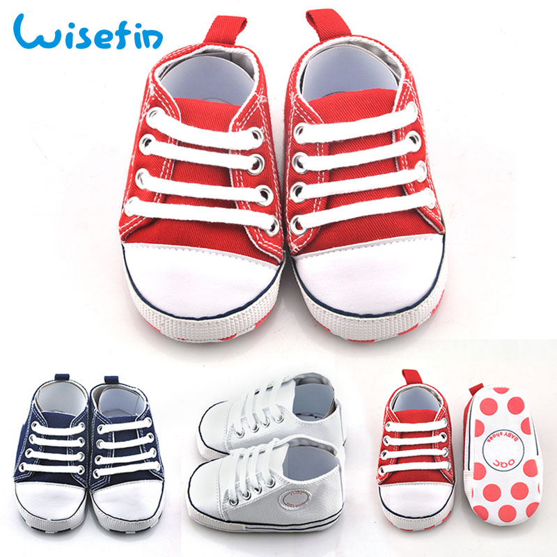 Wisefin Baby Shoes Newborn Girl Polka Dots Sole Lace-Up Toddler Shoes Boy Star Pattern Infant Footwear For First Walkers Unisex