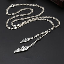 punk Real S925 Silver Sterling Necklace wings necklace Thai silver hipsters wild men women 3.5mm thin chain(China)