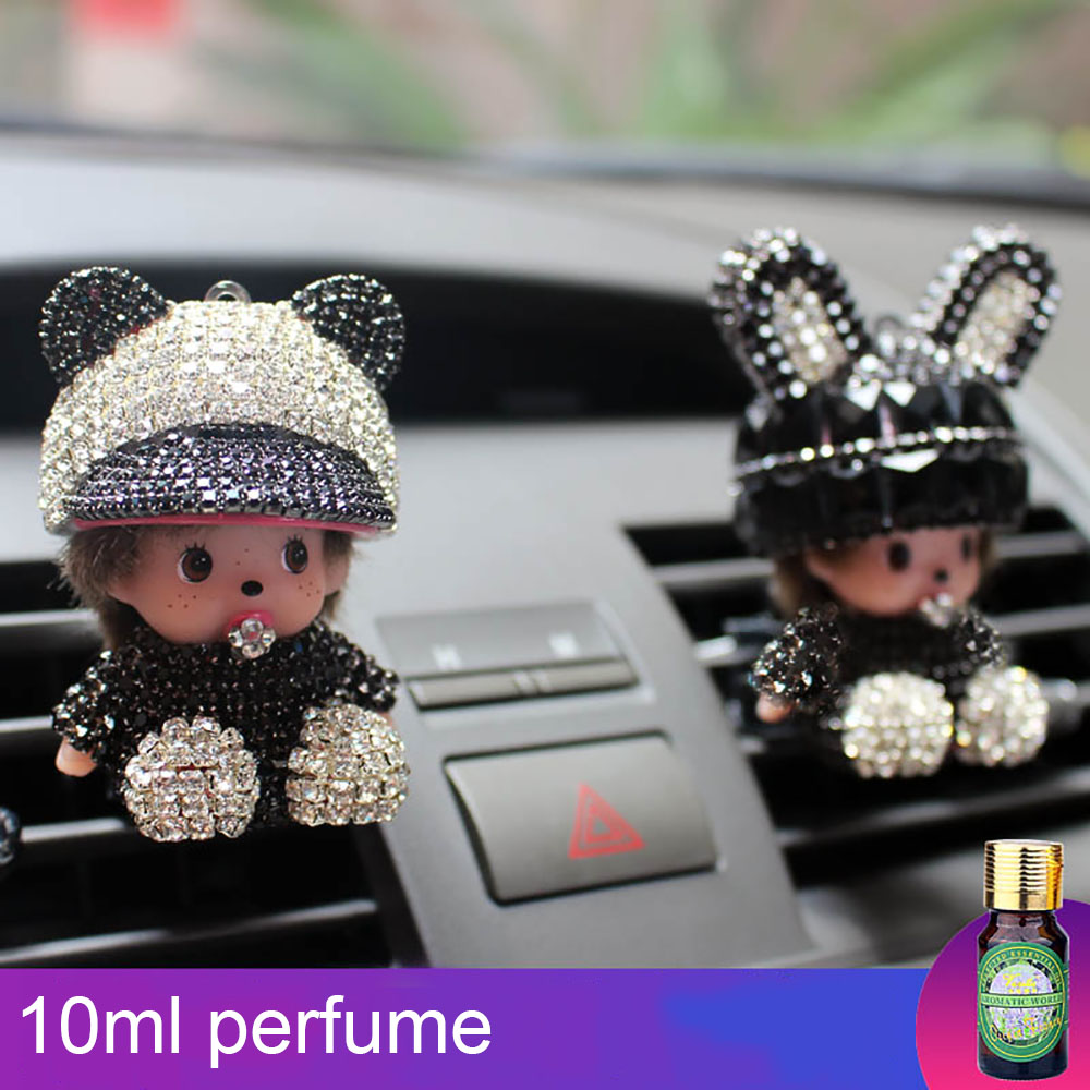 Car Perfume Smell Air freshener Cleaner For Monchichi Doll Cute Automobiles Interior Outlet Vent Clip Fragrance Scent Diffuser