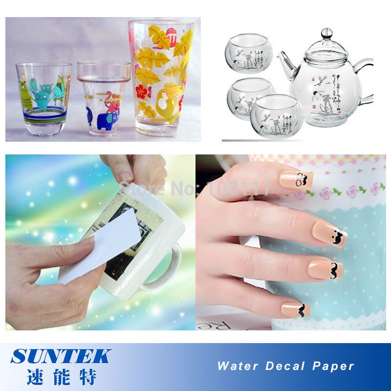 A4 laser clear white water slide decal transfer paper film 20 sheets lot waterslide stickers for diy nail ceramic glass in painting paper from office