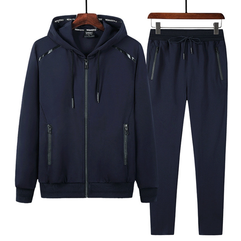 Image 3 - Spring and Autumn Sports Suit Plus size Trade Sportswear Men's Running Long Sleeve Men's Sets 9XL 8XL 7XL-in Men's Sets from Men's Clothing
