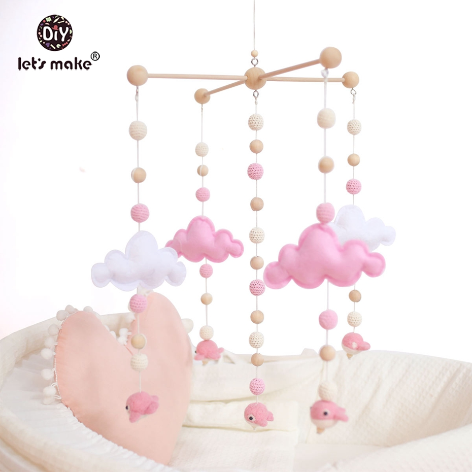 Let's make Pink Color Toys Baby Crib Mobile Bed Bell Rattle Toys Wooden Wind Chimes Tent Hanging Felt Whale Montessori Bed Bell