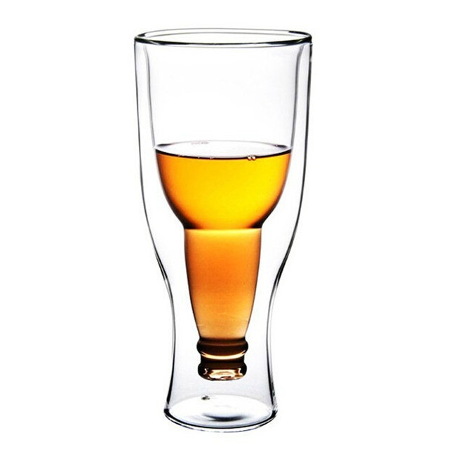 Creative Double Wall Flip Beer Glass Cup Water Milk Juice Beverage Drinking Cup Whiskey Wine Shot Glasses Copos