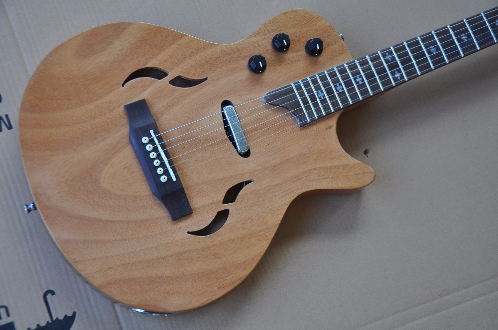 free shipping OEM High Quality T5 classic semi-hollow electric guitar natural color guitars top quality new semi hollow models telecaster single f hole wood color electric guitar 22