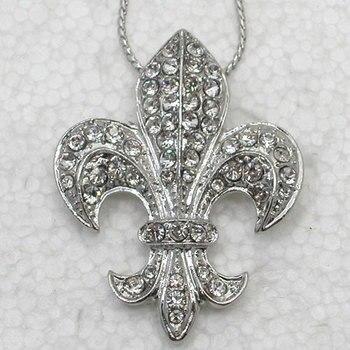 Claro Rhinestone flor De lis signo moda colgante collares cadena joyería F043