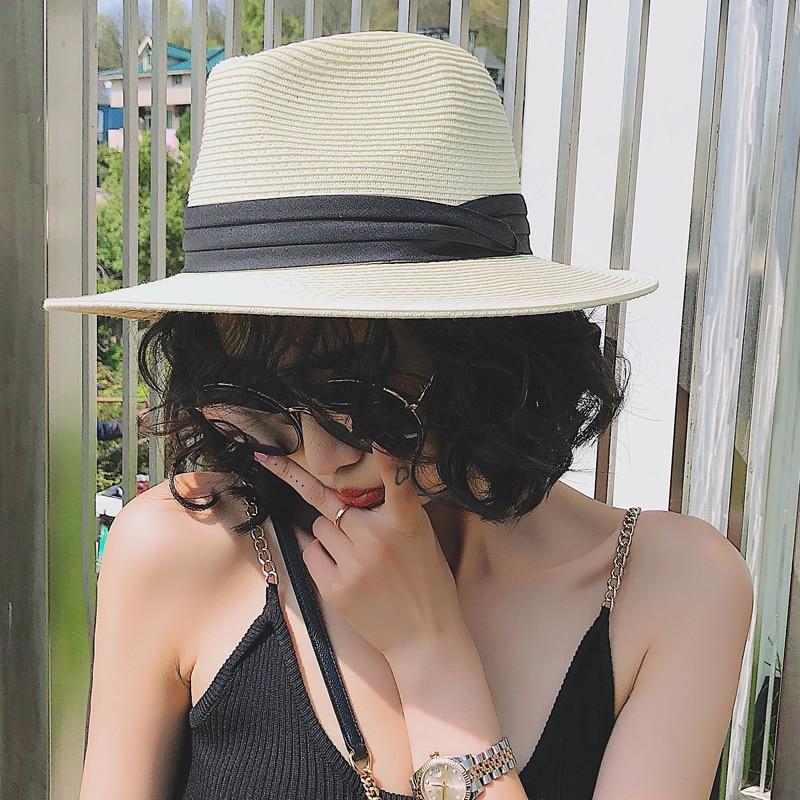 Jiangixhuitian 2020 Summer Unisex Sun Hat Casual Vacation Panama Straw Hat Women Wide Brim Beach Jazz Men Hats Foldable Chapeau