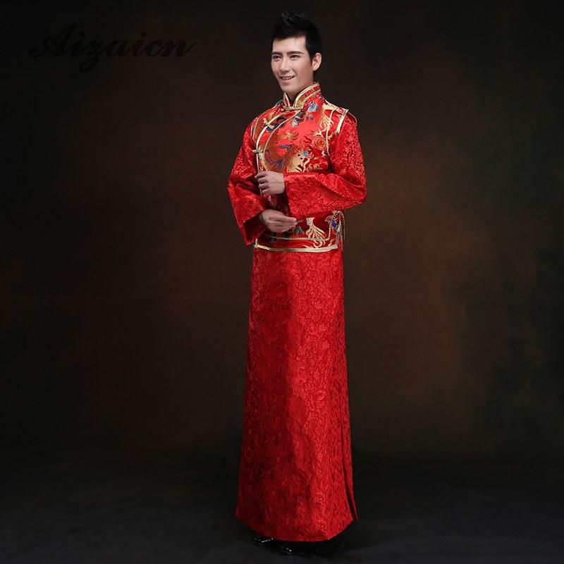 ᐂRed Groom Wedding Clothing Chinese Men Cheongsam Satin Costume ...