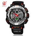 Men Boy Military Watch Sports Watches LED Digital Analog 2 Time Zone Alarm Day Chronograph Quartz Wristwatch Relogios Masculinos