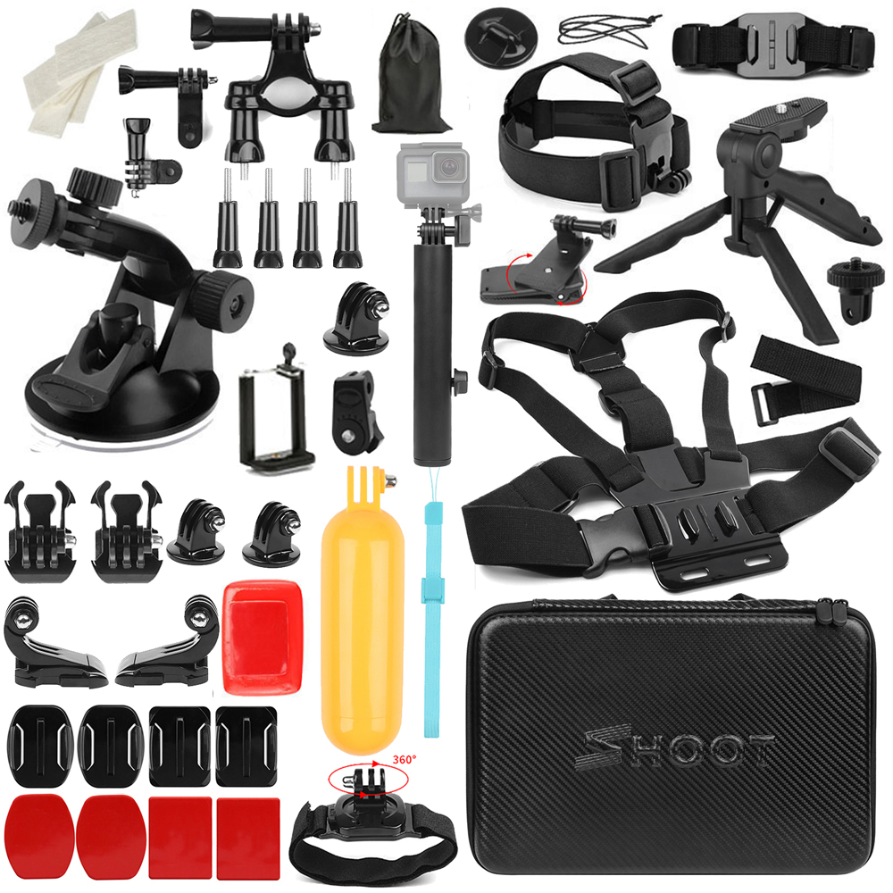 SHOOT for Gopro Accessories Set for go pro hero 7 6 5 4 3 way selfie stick for Xiaomi Yi Lite 4K Eken h8 H9 Action Cam Accessory
