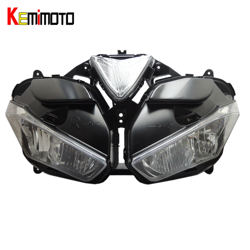KEMiMOTO For YAMAHA YZF R25 R3 YZF-R3 YZF-25 Motorcycle Headlight Accessories Lighting Headlight Assembly With Bulb 2015 2016