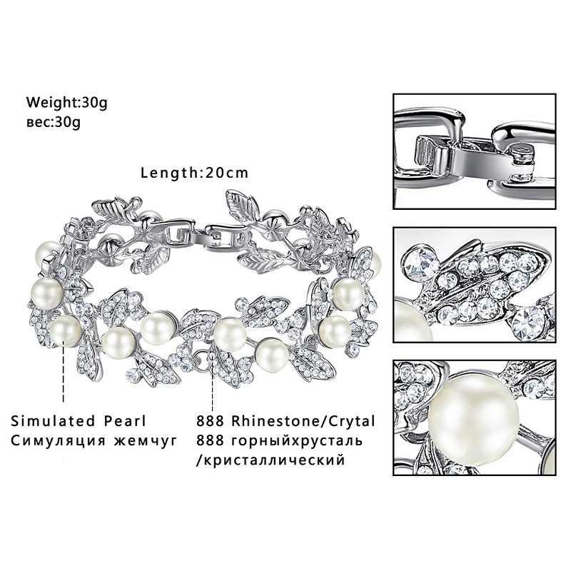 Mecresh Simulated Pearl Bridal Jewelry Sets Leaves Crystal Wedding Bracelet Earrings Sets Jewelry Christmas Gift SL089+EH604