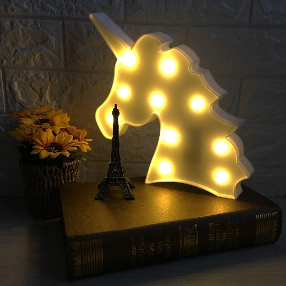Luzes da Noite acender letras unicórnio Formato : Animal
