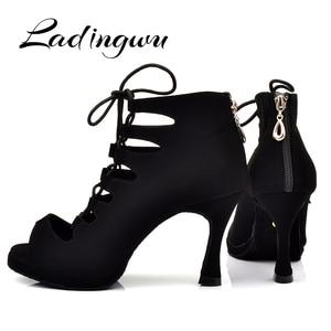 Image 3 - Ladingwu 새로운 여성의 라틴 댄스 신발 볼룸 탱고 플랫폼 숙녀 ladys 편안한 플란넬 댄스 신발 블랙 9cm 쿠바