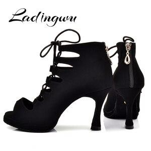 Image 3 - Ladingwu جديد المرأة اللاتينية أحذية الرقص قاعة الرقص التانغو منصة السيدات مغرفة مريحة الفانيلا الرقص أحذية أسود 9 سنتيمتر كوبا