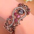 Высокое качество турецкий ювелирные изделия большой размер красный акриловые браслеты античная позолоченный урожай WomenTurkish браслеты кристаллы браслеты