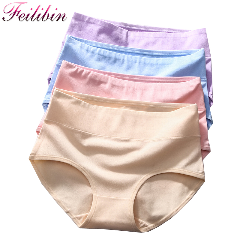 Feilibin 5PCS\lot Women Underwear Plus Size Cotton   Panties   HIgh-Rise Sexy Underpants Slimming Briefs Solid Breathable Lingerie