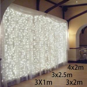Image 1 - 3x 1/3x 2/3x3m Cortina de LED Luzes Cordas Garland Natal Decoração Luzes Led Luzes Cordas de Fadas Do Casamento Festa de Casamento Do Jardim