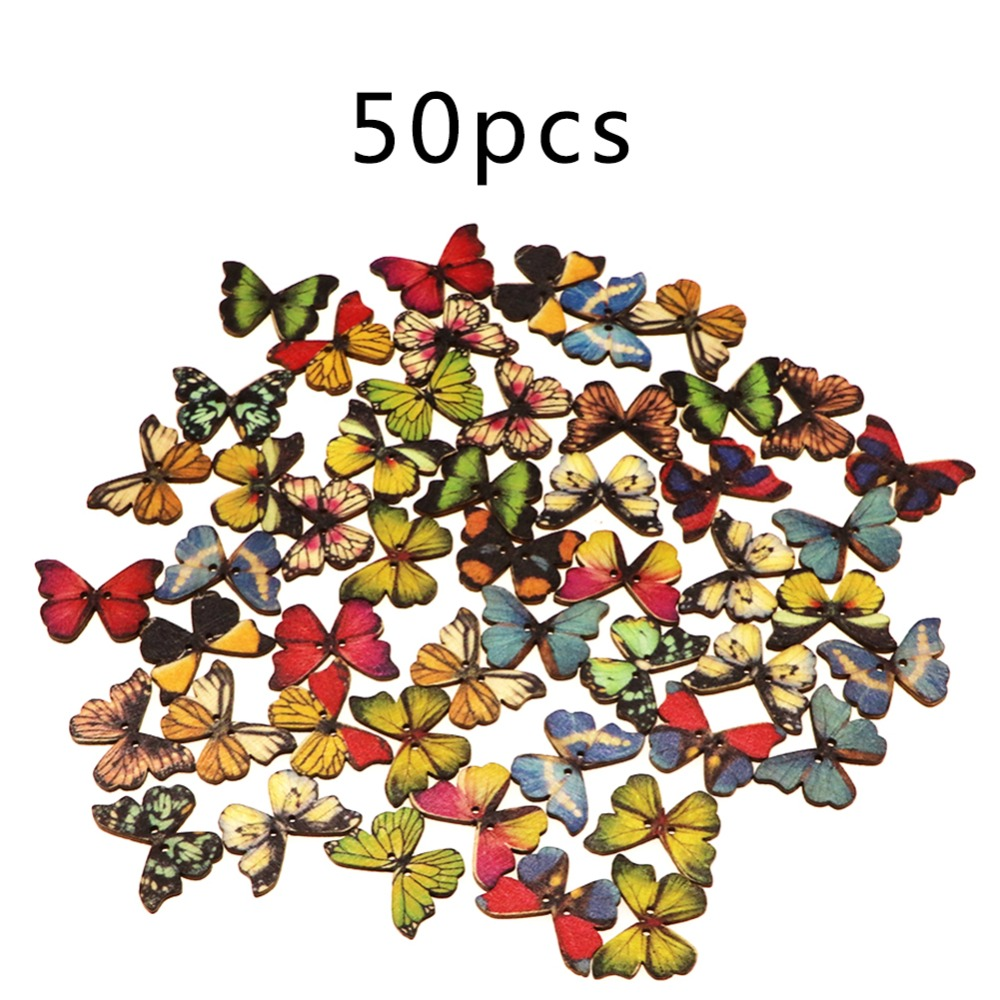 50Pcs DIY Random Painted Mixed Bulk Butterfly Shape New Accessory Cloth Woo R6H5