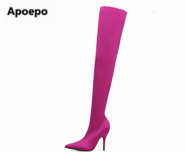 2017 real picture women boots sexy pointed toe long boots high heels thigh high boots pink purple green green ladies shoes ydl wa3003 m fashionable shark style nest bed for pet cat dog blue yellow white size m