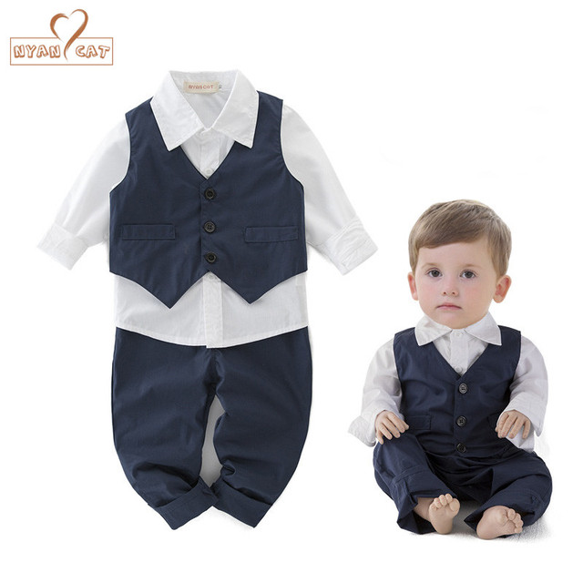 f09374d73b8e NYAN CAT Baby boys wedding clothes birthday boy outfit blue vest+white  shirt+pants kids clothing toddler boy party clothes