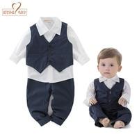 NYAN KAT Baby jongens bruiloft kleren verjaardag jongen outfit blauw vest + wit shirt + broek kinderkleding peuter jongen party kleding