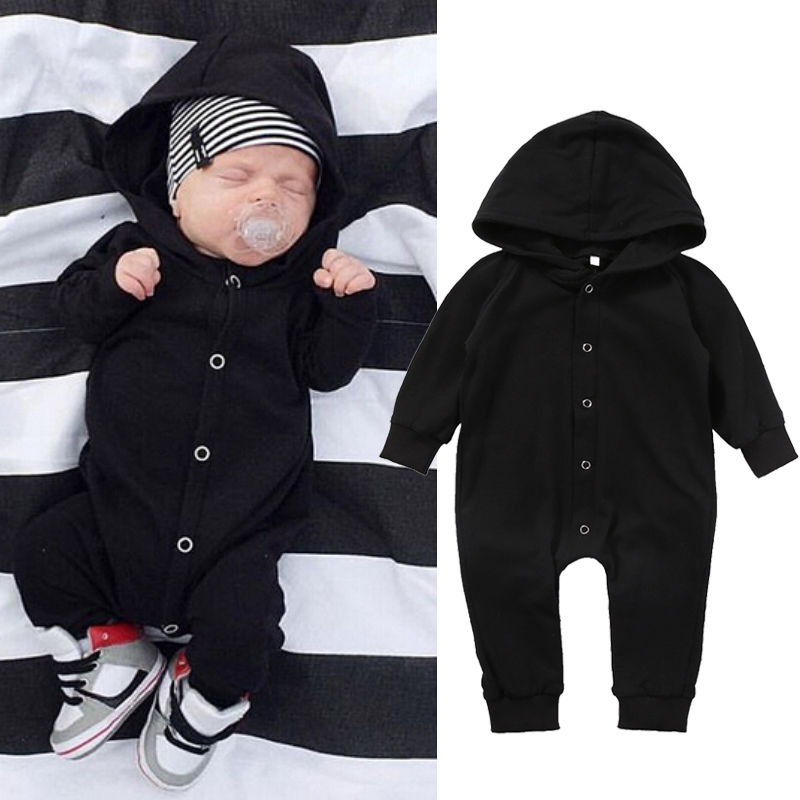 Emmababy Newborn Baby Boys   Rompers   Autumn Warm Baby Boys Cloth Long Sleeve Cotton Black Hooded Jumpsuits 2017 Hot Selling