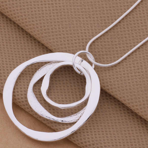 AN200 Hot 925 sterling silver Necklace 925 silver fashion jewelry pendant Article 3 the circular strip /gjqapaxa aoeajfla