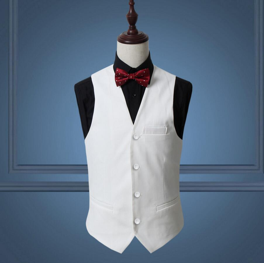 Red Classy Men Suit Vest Solid Black White Single Breasted Slim ...