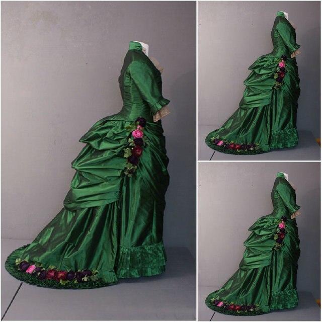 Historische! 19 jahrhundert grüne vintage kostüme 1860 s ...