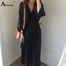 New Navy Turn-down Collar Adjustable Waist Trench Coat Women Single Breasted Buttoned Outerwear Autumn 2019 Elegant Long Coats