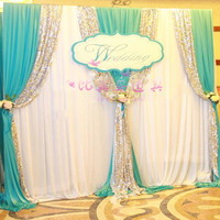 Express free shipping 3Mx3M New Design Wedding Backdrop Curtain with Swags for SALE Js-028