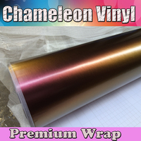 Wholsale Golden to Purple Satin Chameleon Vinyl Foil Car Wrap Sticker Roll Air Release For Car Wrapping Size:1.52x30m/roll