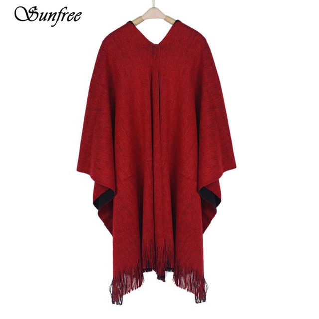 Sunfree 2016 Fashion Hot Sale Women Winter Knitted Cashmere Poncho Capes Shawl Cardigans New Design High Quality Oct 1