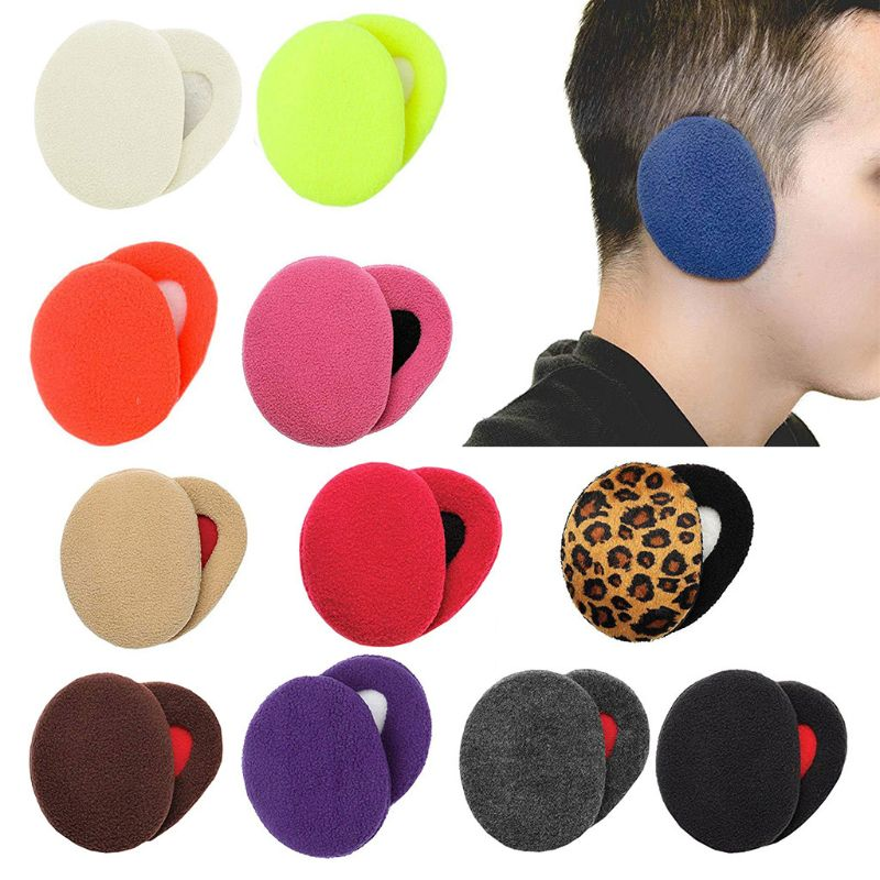 2Pcs/Pair Adult Unisex Winter Thicken Cotton Earbags Bandless Ear Warmers Cover Solid Color Leopard Windproof Earmuffs 12 Colors