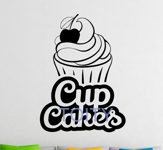 Bakery logo wall decal cup cakes vinyl stickers bakehouse interior home design wall art murals window