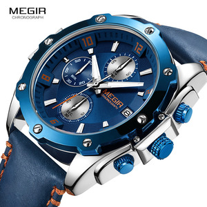 Image 3 - MEGIR Mens Chronograph Quartz Watches Leather Strap Army Sports Casual Wristwatch Man Relogios Masculino Clock 2074 Blue