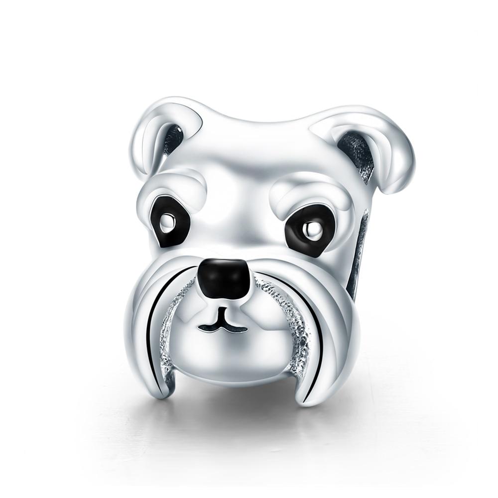 ZMZY 100% Original 925 Sterling Silver Lovely Animal Schnauzer Dog Charm Beads Fit Pandora Bracelets & Necklaces DIY Jewelry
