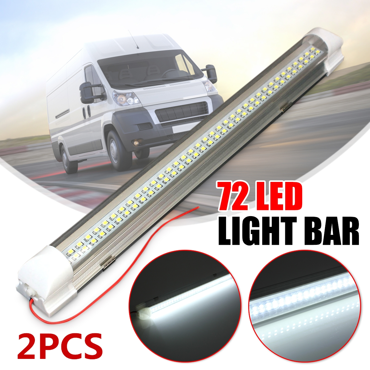 2pcs 12V 72 LED Car Interior White Strip Lights Bar Lamp Van Caravan ON OFF