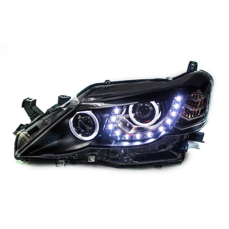 Ownsun 2шт LED U-бар рвать ДХО глаз спрятанный би-ксенон проектор Лен оригинальные запасные фары для Тойота reiz 2010-2013
