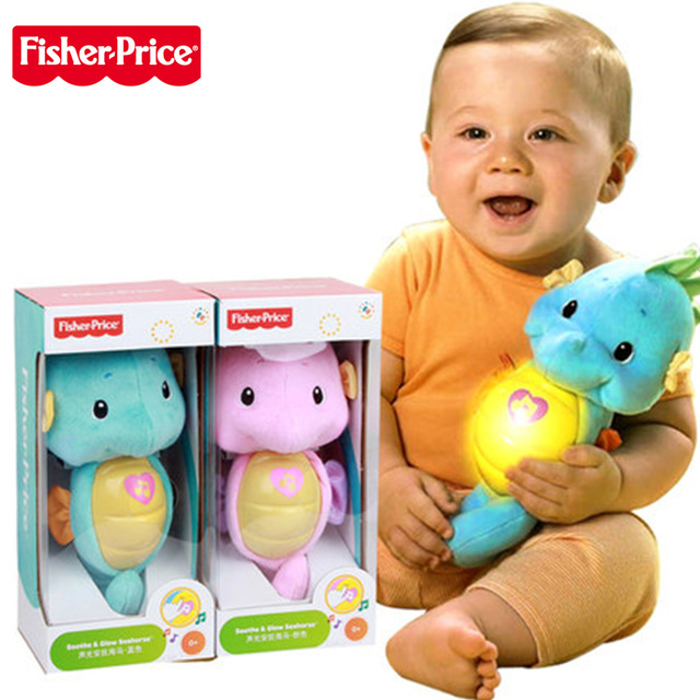 0-24 months Fisher Price Baby Musical Toys Seahorse Appease Seahorse Stuffed Animal Hippocampus Plush Doll toys for baby fisher price soothe & glow seahorse