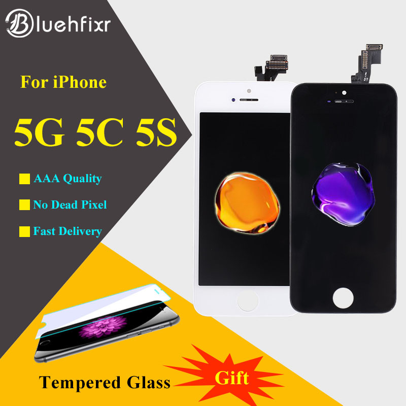 Bluehfixr A CRISTALLI LIQUIDI Per il iphone 5 s 5 5C LCD di Qualità di Visualizzazione Dello Schermo e Digitizer Touch Screen di Ricambio Per iPhone 5 5 s 5C SE LCD