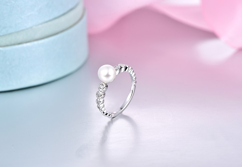 white gold rings for women and freshwater pearl  rings NR55230A (6)