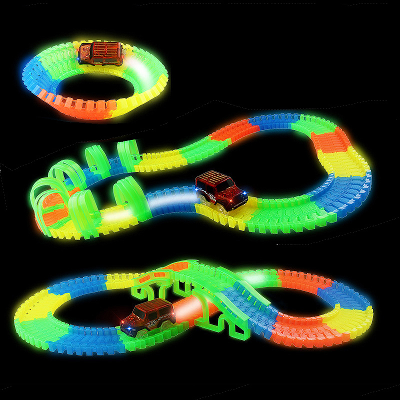 Large DIY Glowing Race Car Twister In The Dark Track LED Flashing Light Tracking Rail Flexible Changeable Railway For Kids Toys