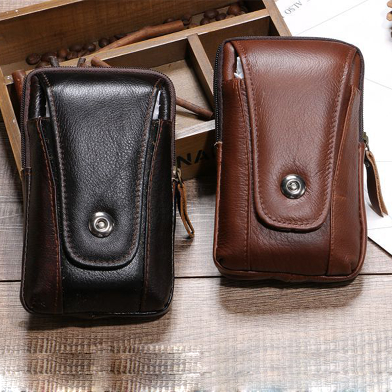 BISI GORO Fashion Cow Leather Phone Coin Card Waist Bag Multi-function Outdoor Porta Tarjetas Heuptas Heren Creative Gift Purse