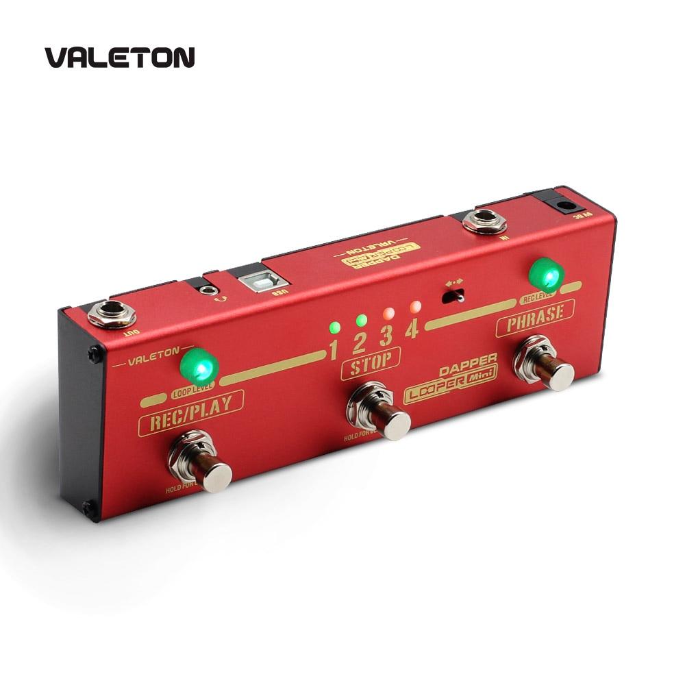 Valeton Looper Guitar Pedal Dapper Looper Mini 3 Footswitch Button Loop Station of 8 USB Savable