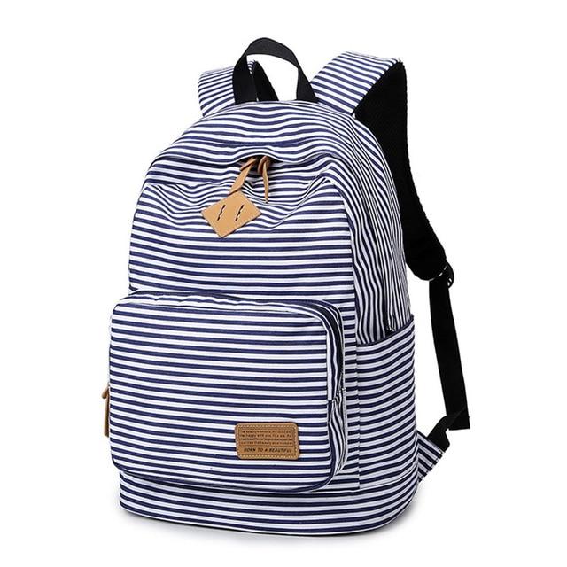 Feminine Backpack Striped Women Canvas Backpack Teenage Backpacks ...
