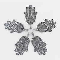 5pcs Antique Silver Hamsa Hand of Fatima Beads Flower Hand Large Big Charms Pendant for Pendant Necklace Jewelry Making 74*47mm